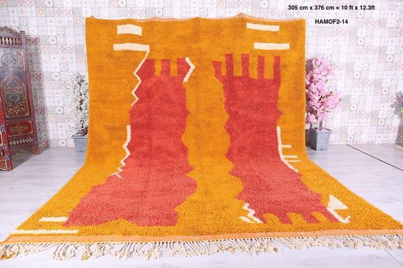 Vintage Hand Knotted Rug 10ft X 12 3ft Moroccan Carpet Custom Carpet Berber Rug Tribal Rug