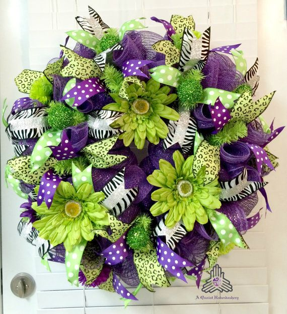 Purple Lime Flower Floral Spring Summer Curly Loop Deco Mesh Wreath