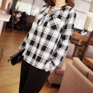 Republic of Korea reigning Women's Clothing Store [CANMART] Check Pocket Shirt / Size : FREE / Price : 42.32 USD #korea #fashion #style #fashionshop #apperal #koreashop #missy #canmart #top #shirts #blouse #checkpattern #dailylook