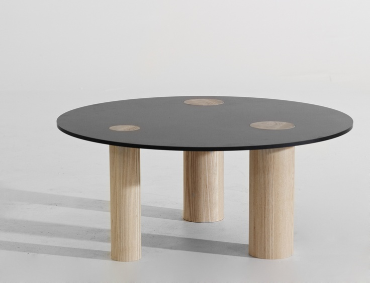 """""""Button"""" table. Solid ash and compactlaminate"""