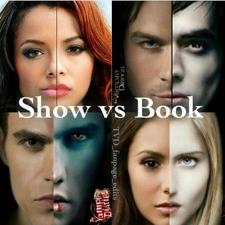 "#TVD The Vampire Diaries   Kat Graham(Bonnie),Ian Somerhalder(Damon),Paul Wesley(Stefan) & Nina Dobrev(Elena,Katherine,Amara etc..)  ""Show vs Book"""