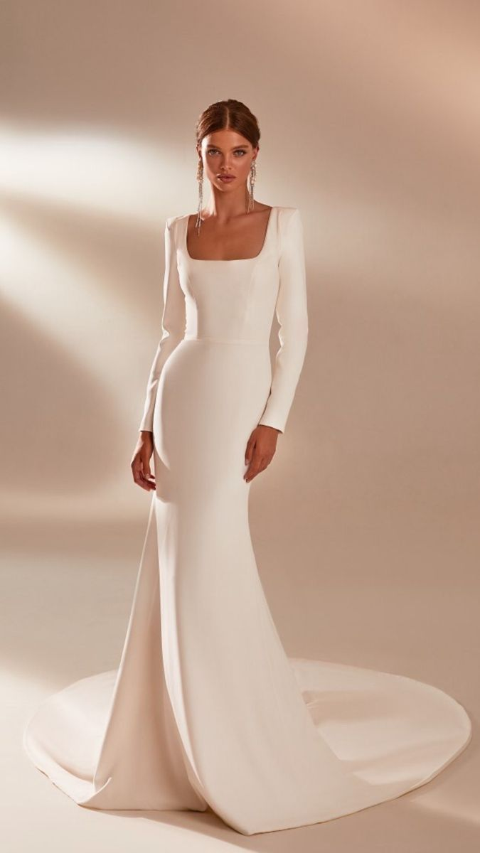 Wedding Dress Mermaid Long Sleeve Luxury With Sleeves   Classy ...