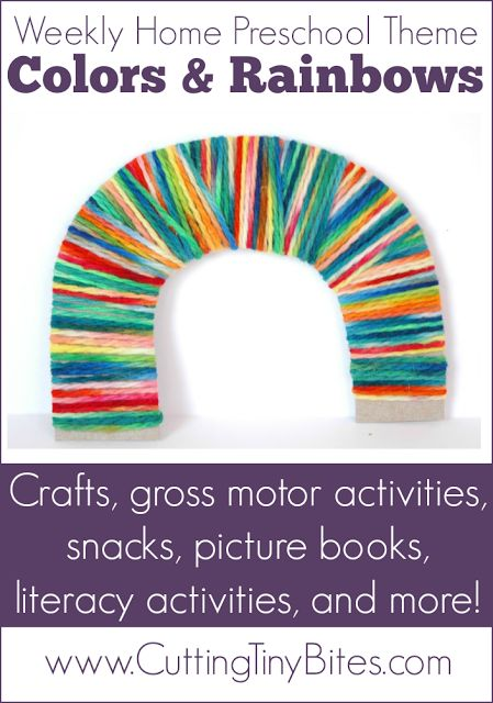 Colors and Rainbows Theme- Homeschool Preschool. Crafts, fine motor, gross motor, picture books, snack, science, math, and more! EASY activities for home pre-k.