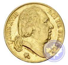 Monnaie française 20 francs 1818a louis XVIII ttb