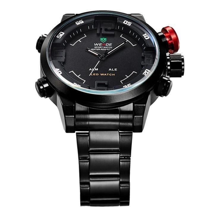 WEIDE Luxury Brand Men Sports Watches Full steel Army Military Watch LED Digital Analog 30m Waterproof Dive Quartz Wristwatches