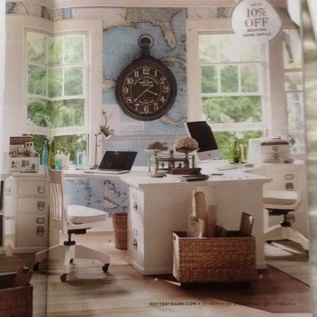 Love this set up of a dual office from Pottery Barn catalog.  Bedford set using to corner desks adjacent to each other.: Office Ideas, Potterybarn, Corner Desk, Clock, Map Wallpaper, Pottery Barn, Home Offices, Room