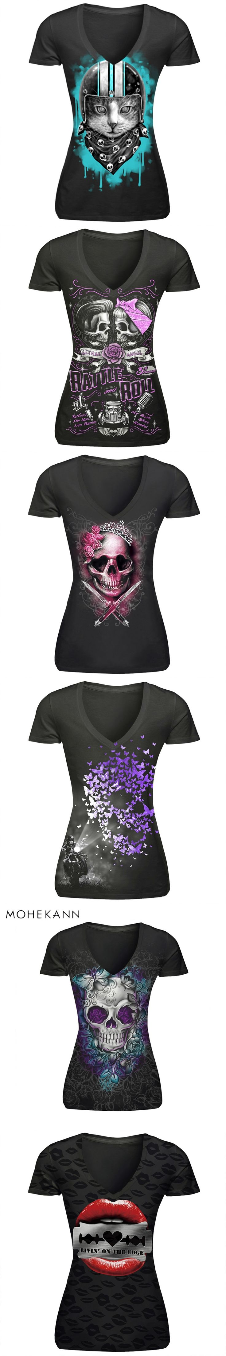 2017 Mohekann T-shirts Harajuku Women Sexy Club Punk Style T shirts Summer 3D Print Skull Rose Tops Casual V-Neck Tees Camiseta