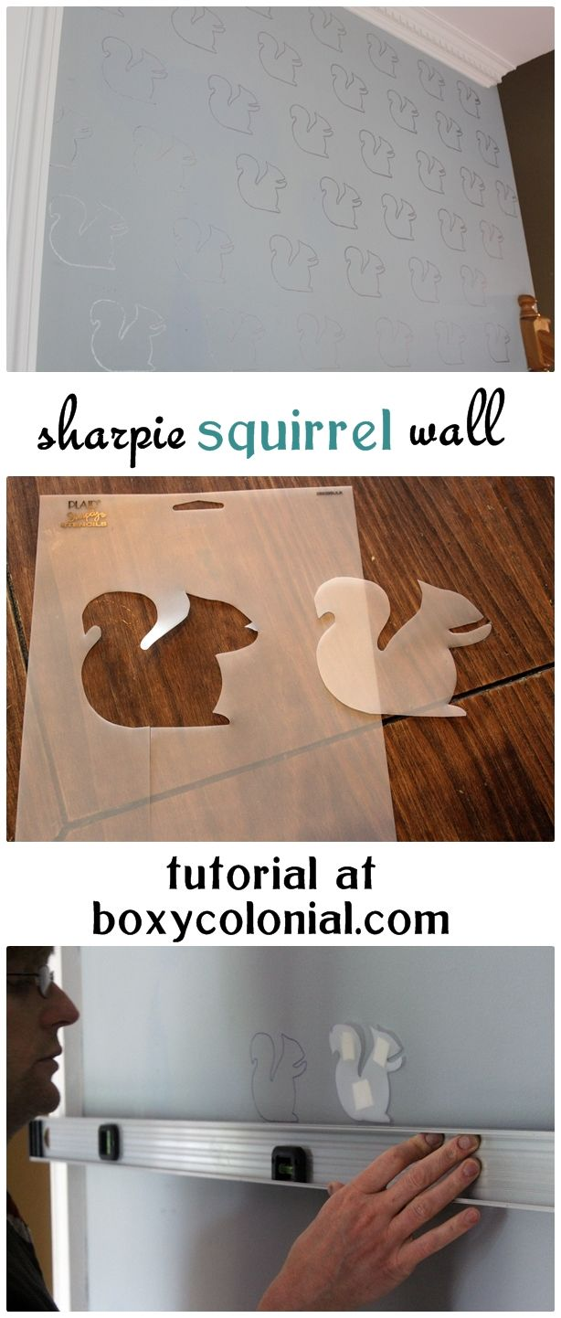 "tutorial to make sharpie ""wallpaper"" with sharpie paint pens and a hand drawn squirrel stencil"