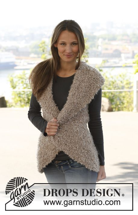"Knitted DROPS vest in garter st with short rows in ""Puddel"". Size: S - XXXL. ~ DROPS Design"