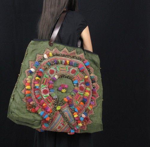 Olive-Green Hemp Bohemian Hippie Oversize Bag P0002