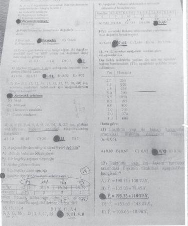 İstatistik Dersi Final Soruları ve Cevapları - Test