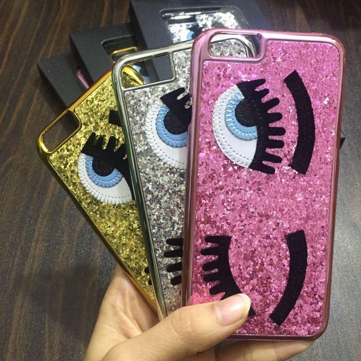 Glitter powder fashion chiara ferragni Bling big eyes eyelashes PC Plating back Cover phone Cases for iPhone 7 5 5s SE 6 6S Plus