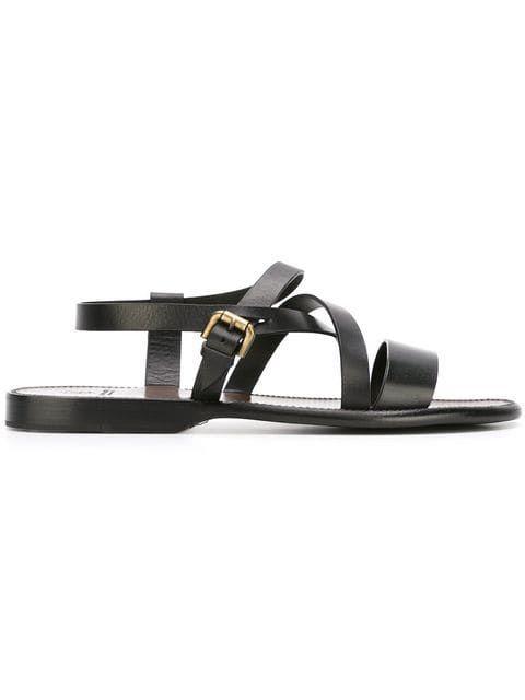 Sandales Noires à Brides Croisées Et 50% Cuir Mode Homme