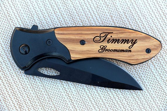 Personalized Pocket Knife, Custom Engraved Wood Handle Folding Hunting Knife, Groomsmen Gift, Gift for Groomsman, Wedding Favors, Knives $22.99