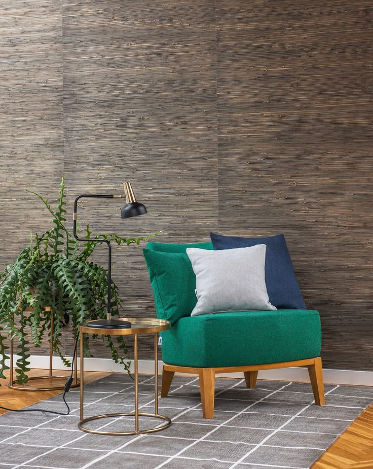 Green mid-century style armchair | 70s wallpaper | IKEA Stockholm armchair with a Bemz Ivy Green Lunda Melange cover | the Respect fabric is made out of 100% recycled fabric | sustainable design