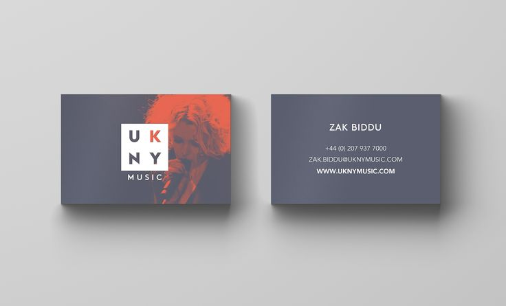 UKNY Music Events Branding Business Cards. Designed by White Bear Studio.