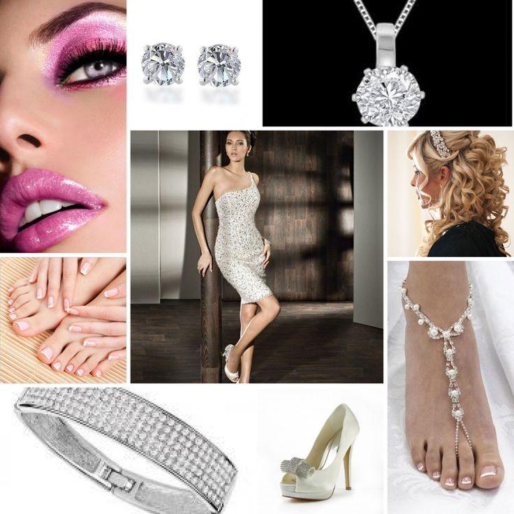 Bruidsmeisje Naomi:  visagie: 70,00 haar: 150,00 tiara: 50,00 ketting: 25,00 jurk: 124,56 oorbellen: 15,00 armband: 75,00 voet accessoir: 25,00 schoenen: 40,00 French manicure: 60,00 totaal: 674,56