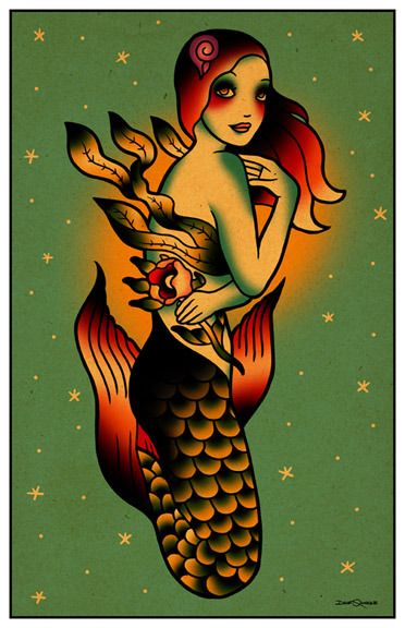 Mermaid with Flower tattoo art flash  from Dave Quiggle Illustration