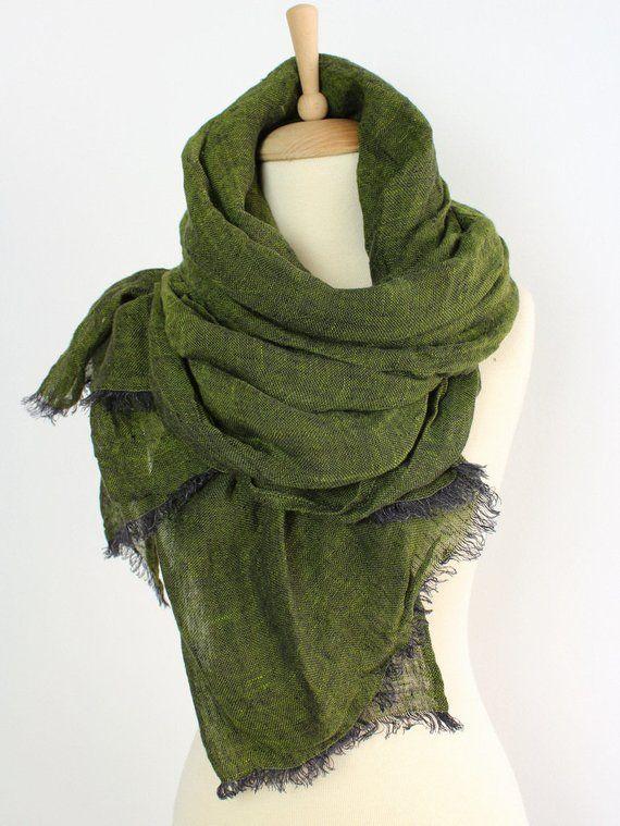 Linen Scarf Natural Grey Organic Linen Women/'s Scarf Pure Linen Spring Clothing