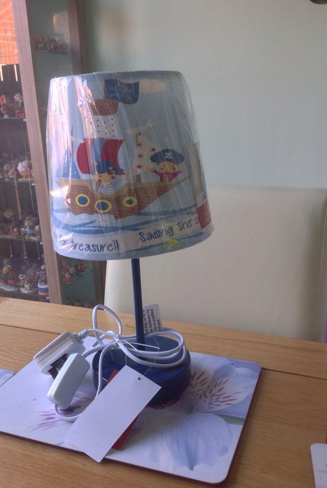 NURSERY KIDS CHILDRENS BEDSIDE TABLE LAMP BABY PIRATES BLUE BOYS BEDROOM in Home, Furniture & DIY, Lighting, Lamps | eBay