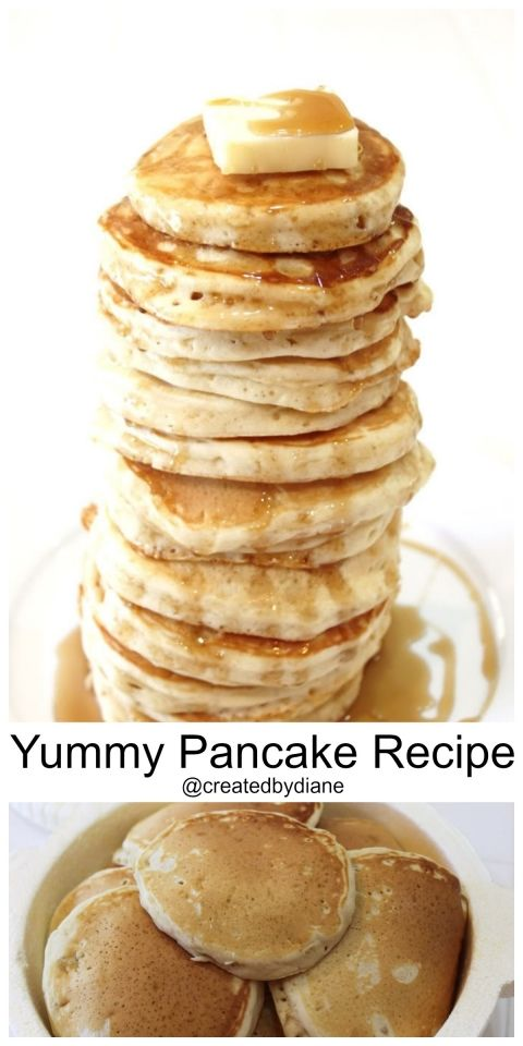 yummiest pancake recipe from @createdbydiane2 cups flour ⅓ cup sugar 1 teaspoon salt 1 ½ Tablespoons. baking powder 1 egg 2 cups milk 2 Tablespoons butter (room temp, soft) 2 teaspoons vanilla