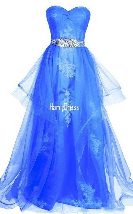 A Line Sweetheart Tulle Floor Length Beading Royal Blue Prom Dress