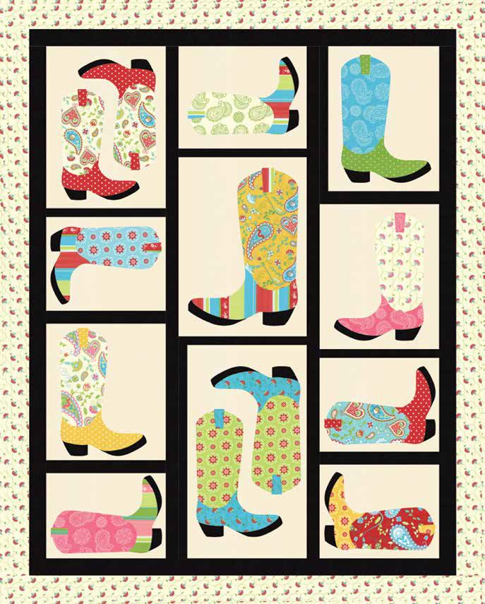 "= free pattern = Cowboy Boots quilt, 56 x 70"":  Caravan Roundup at Moda Fabrics (PDF download)"