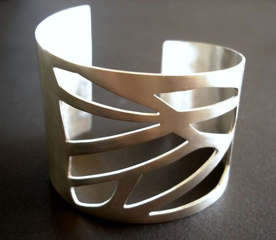 Large Silver Cuff with Geometric CutOuts Pattern by tothemetal