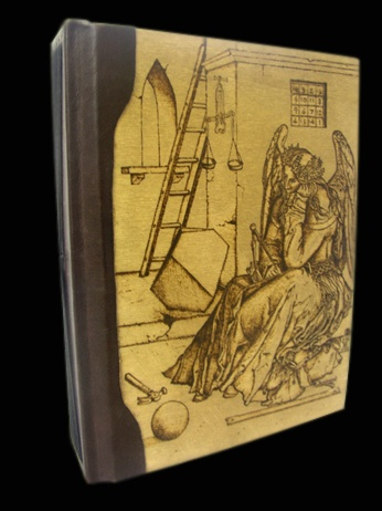 Pyrography on wooden book cover by Diego Valobra, Italy. Design is from Melanconia by Albrecht Durer