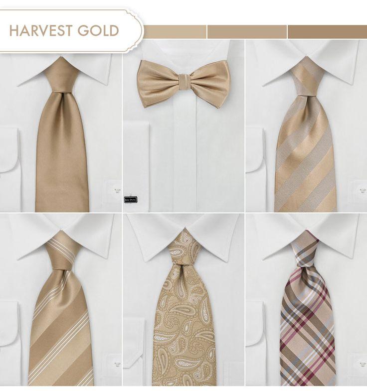 Groom and Groomsmen Ties in Harvest Gold.