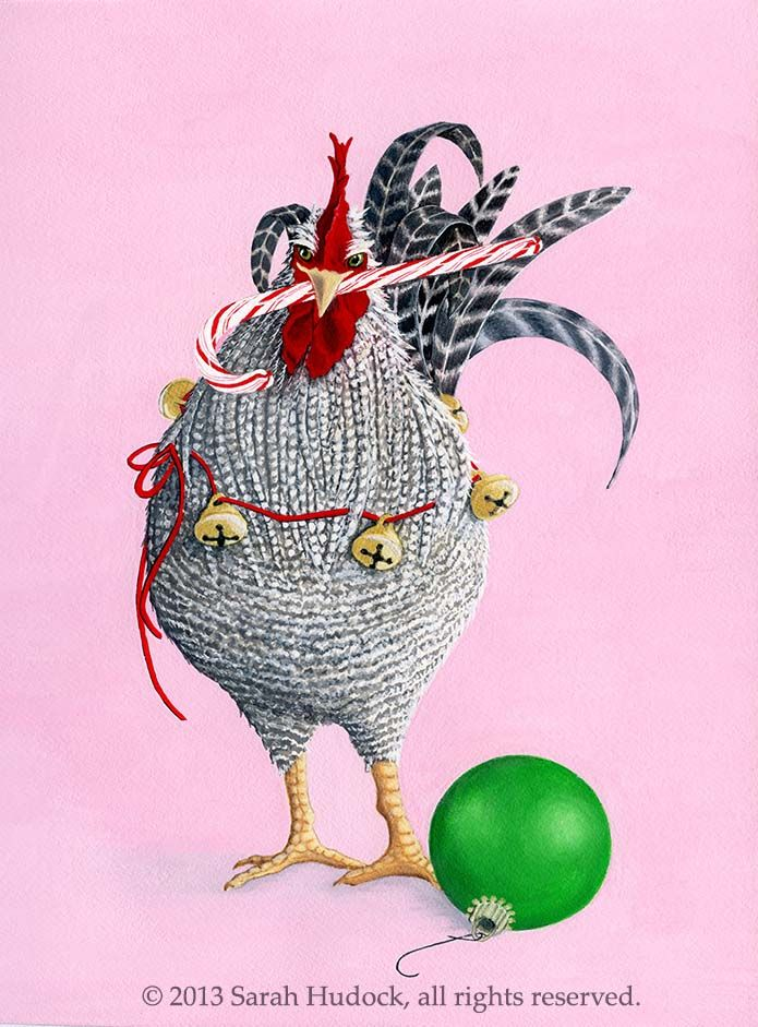 Peppermint Rooster Christmas Card  © 2013 Sarah Hudock, all rights reserved.