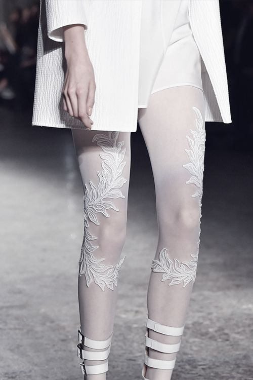 White embroidered tights - leafy applique, feminine fashion details // Francesco Scognamiglio S/S 2015
