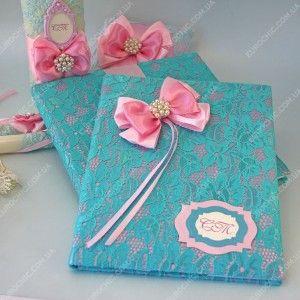 Свадебная папка Розовый & Бирюзовый