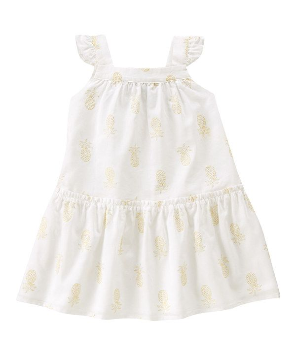 Look at this White Mini-Pineapple Angel-Sleeve Dress - Infant, Toddler & Girls on #zulily today!