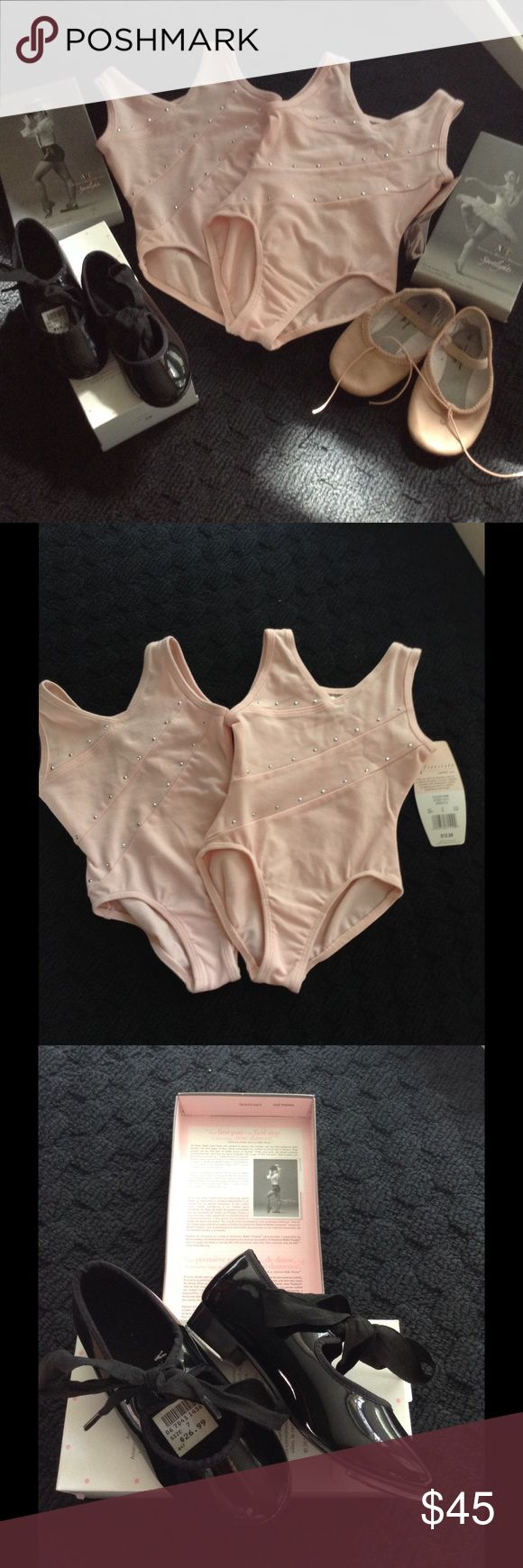 4pcs Bundle of dance gear for toddler 2leotards size xxs 2/3 t one NWT one gently used. Black tap shoes size 7. Ballet shoes size 8 American ballet theatre Other