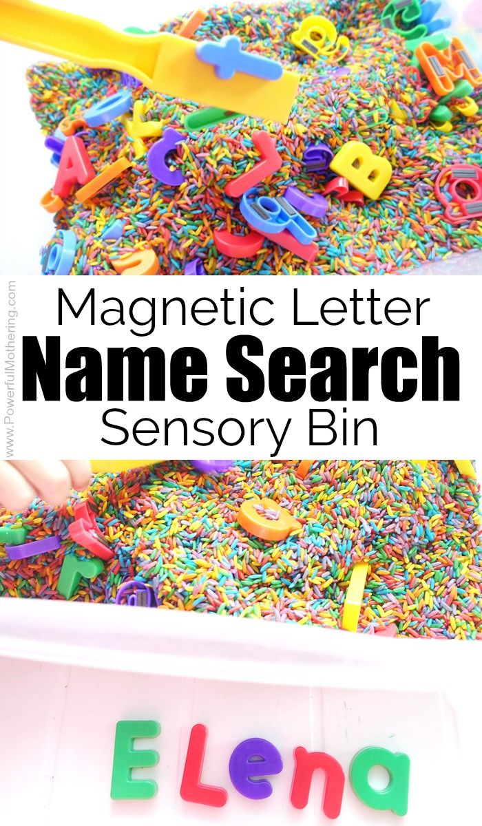 Magnetic Letter Name Search Sensory Bin #learningactivities #ABC #sensorybin