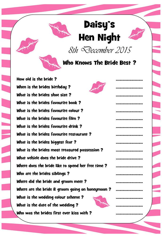 10 Personalised Hen Night Bridal Shower Trivia Game Guest Libs - Who Knows Bride