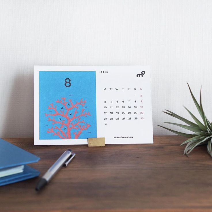 Illustrations & Graphic design : Calendar 「August」 Designed by mikako omata DESIGN #Coral #illustrations #deskcalendar #graphicdesign #イラスト #卓上カレンダー #カレンダーデザイン