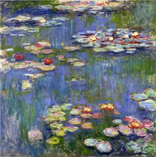 Water Lilies - Claude Oscar Monet's view of his lily pond at Giverny, painted in his later years. This artist loved water and featured it in many paintings throughout his career.