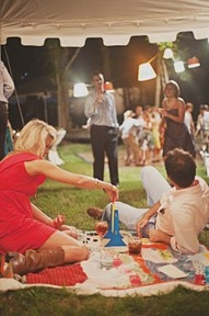 cute idea to have blankets out on the lawn for people to relax on watch games/dancing etc