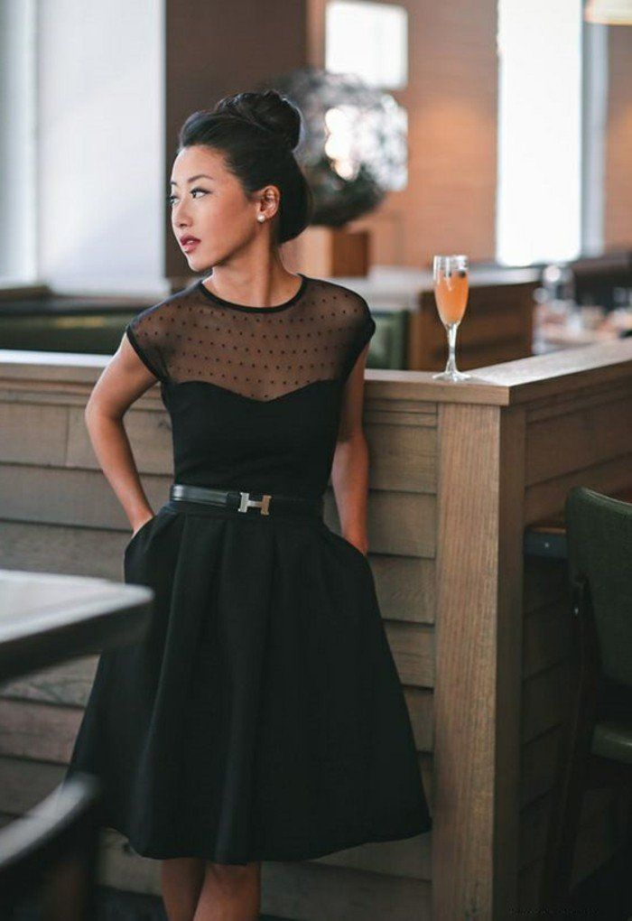 Chic robe dentelle noire courte cool