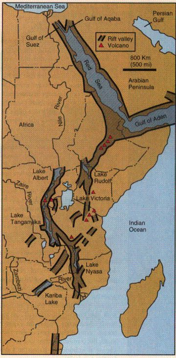 Map of East Africa's Great Rift Valley