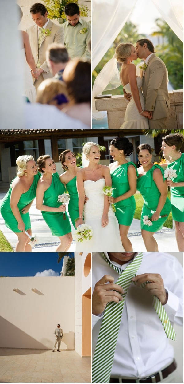gorgeous green one shoulder bridesmaid dresses, long earrings, hair up.