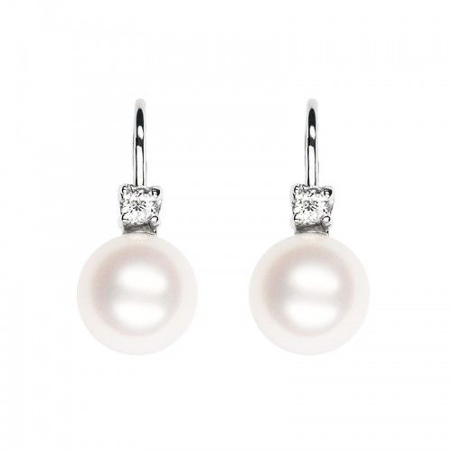 Gyémánt és sósvízi igazgyöngy patent záras fülbevaló I www.feminashop.hu