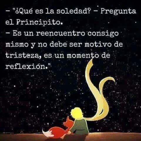 """""""¿Qué es la soledad?-Pregunta el Principito. -Es un reencuentro consigo mismo y no debe ser motivo de tristeza, es un momento de reflexión."""" #Notas #ElPrincipito"""