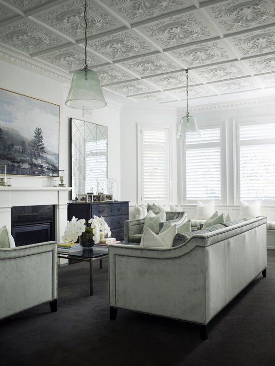 Contemporary chic - love the detailed ceiling
