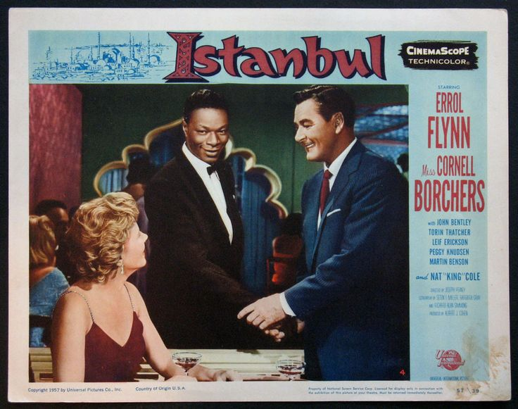 ISTANBUL ERROL FLYNN NAT KING COLE 1957 LOBBY CARD #4