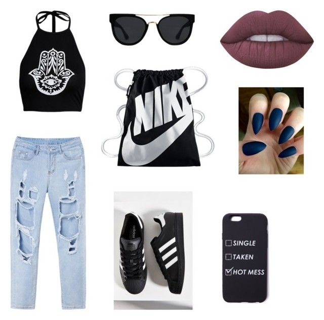 """"""""""" by martyna-janas on Polyvore featuring moda, adidas, NIKE, Quay i Lime Crime"""