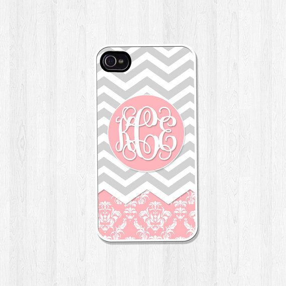 Personalized Phone Case, iPhone 4, iPhone 4S, iPhone 5, iPhone 5S, iPhone 5C, iPhone Case, Gray Chevron Pink Damask Script Monogram (383) on Etsy, $15.00