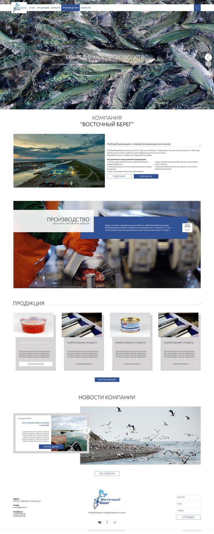 """Дизайн для компании ООО """"Восточный берег""""   Разработан адаптивный дизайн сайта с расширенным меню для рыбодобывающей компании ООО """"Восточный берег""""   Студия веб-дизайна Cakewood #site #design #cakewood"""
